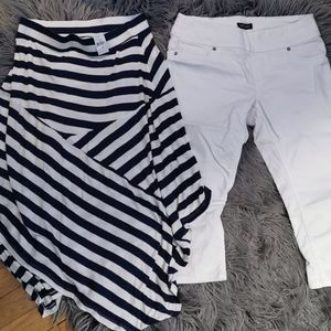 Gap blue and white stripped skirt..sumo crop